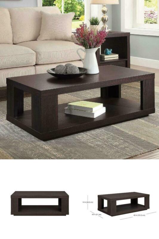Coffee Table Spacious Lower Shelf Contemporary Design Living Room Home Decor New