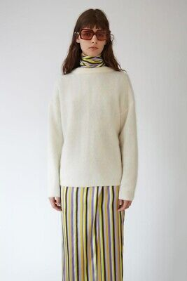 Acne Studios Dramatic Moh Wool-blend Sweater Pearl White Size Small