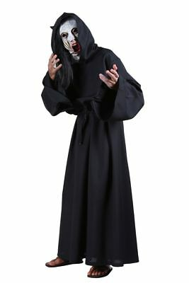 Schwarzer Teufel Halloween-kostüme (Schwarzer Satan Teufel Priester Kutte mit Kapuze Herren Damen Halloween one size)