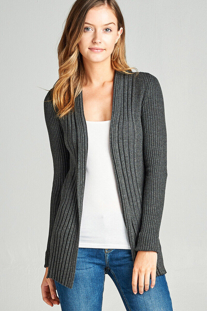 Premium Ribbed Knit Cardigan Open Front Long Sleeve Draped VISCOSE Sweater S M L Clothing, Shoes & Accessories