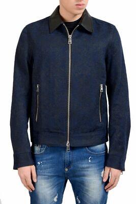 Just Cavalli Men's Wool Leather Jacquard Full Zip Jacket Size M XL - Jacquard Zip Jacket