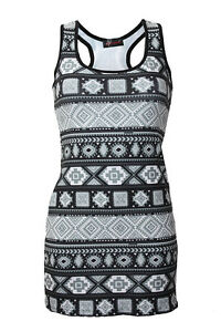 Mujer-Mono-etnico-Azteca-Tribal-Africano-Estampado-Largo-Camiseta-Sin-Mangas