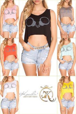 Sexy KouCla High Low Top Mit Print Oberteil Bluse Shirt  XS S M 34 36 38 online kaufen
