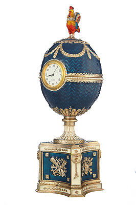 Used, Decorative Faberge Egg & Music Box Chicken with Clock 8.9'' (22.5 cm) light blue for sale  Shipping to United States