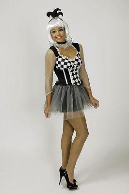 Kostüm Clown schwarz weiss Pierrot Harlekin sexy Kleid 34 36 38 40 42 - Schwarz Weiß Kleid Kostüm
