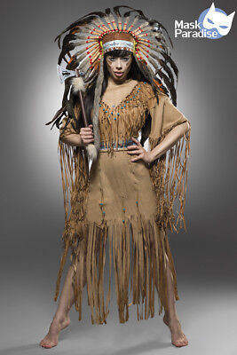 Halloween Kostume (Indianerkostüm 4-tlg. Komplettset Damen Gr. S-XL Fasching Karneval Halloween)
