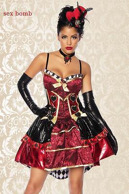 SEXY costume REGINA DI CUORI + GUANTI abito jacquard taglia 40,42,44 carnevale - Costume Regina