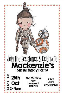 Personalised Rey Star Wars Boy/Girl Birthday Party Invites inc envelopes SW3