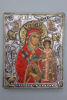 Byzantinische Ikone mit Silberoklad  Kopie  Handmalerei