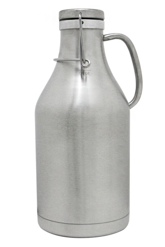 Kegco The Grizzly - 64oz Double Wall Stainless Steel Flip Top Draft Beer Growler