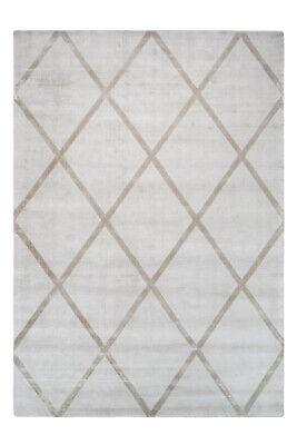 Berber Teppich Viskose Handgewebt Retro Look Kurzflorteppich Elfenbein Taupe