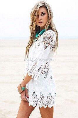 Lady Cotton Lace Hollow Crochet Swimwear Bikini Beach Cover Up Tunic Dress White