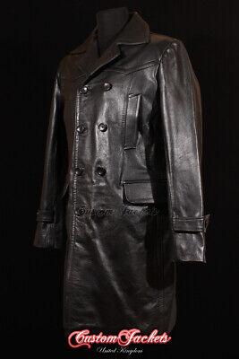 Men's LONG U-BOAT Black Cowhide German Military Real Leather Jacket WW2 Pea Coat