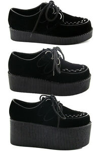 NEW-WOMENS-BLACK-PLATFORM-LACE-UP-LADIES-FLATS-CREEPERS-PUNK-GOTH-SHOES-SIZE-3-8