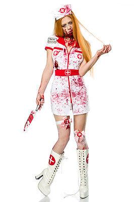 Heißes Zombi Krankenschwester-Outfit Komplettset Halloween Kostüm Fasching - Krankenschwester Halloween Outfits