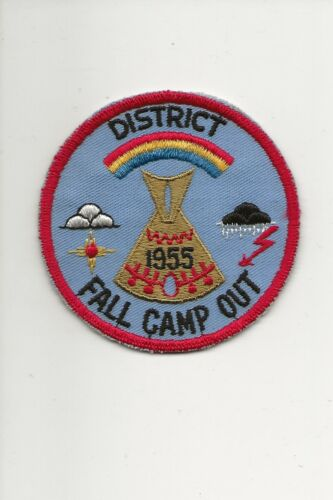 """RAINBOW  COUNCIL  """" 1955 DISTRICT FALL CAMP OUT """" - Boy Scout BSA A132/4-22"""