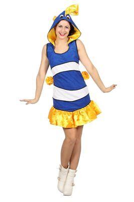 WIL - Damen Kostüm tropischer Fisch blau-weiß Karneval Fasching