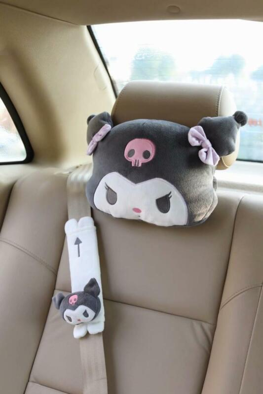 1pcs Cute Anime Kuromi Auto Car Neck Pillow Soft Plush Headrest Seat Pillows