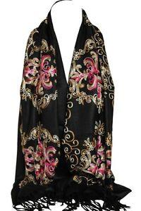 Black Embroidered Pashmina Feel Wrap Scarf Scarves Stole Shawl Hijab