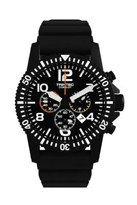 NEW Trintec Aviation Co-Pilot Chronograph Black Stainless Watch Quartz w Rubber+