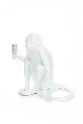 Lámpara de Mesa Figura Decorativa Escultura Mono Monito Blanco