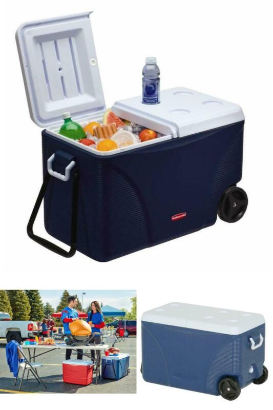 75 Qt Rubbermaid Chest Cooler Rolling Wheels Thick Insulatio