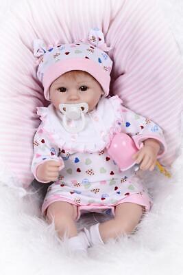 17''Reborn Baby Dolls Cute Lifelike Bebe Silicone Vinyl Handmade Detail Painting