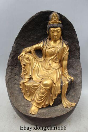 "19""Tibet Purple Bronze 24K Gold Sit Mountain Kwan-yin Guanyin Buddha Statue"