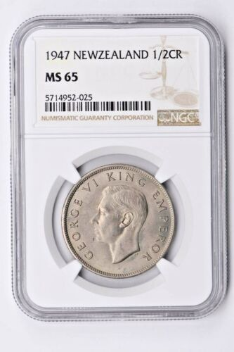 1947 New Zealand 1/2 Crown NGC MS 65 Witter Coin