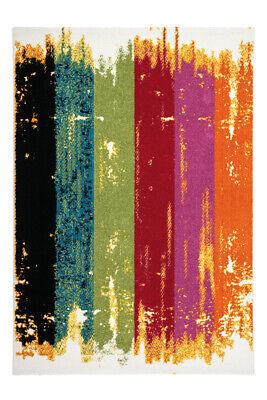 Teppich Flachflor Teppiche Streifen Modern Splash Style Bunt Multi 80X150Cm - Chenille Streifen-teppich