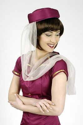 Kostüm Stewardess 2-tlg Flugbegleiterin Hostess magenta Kleid Uniform (Berufe Uniformen Kostüm)