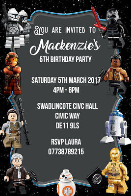 Personalised Lego Star Wars Birthday Party Invites inc envelopes SW6