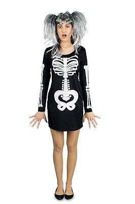 Skelett Kleid mit Kapuze Damen  Mädchen Kostüm Halloween Karneval - Kapuze Mädchen Kostüm