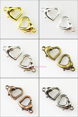 - 8Pcs Heart Lobster Clasps Connectors Gold Silver Bronze Copper Plated 12x14mm