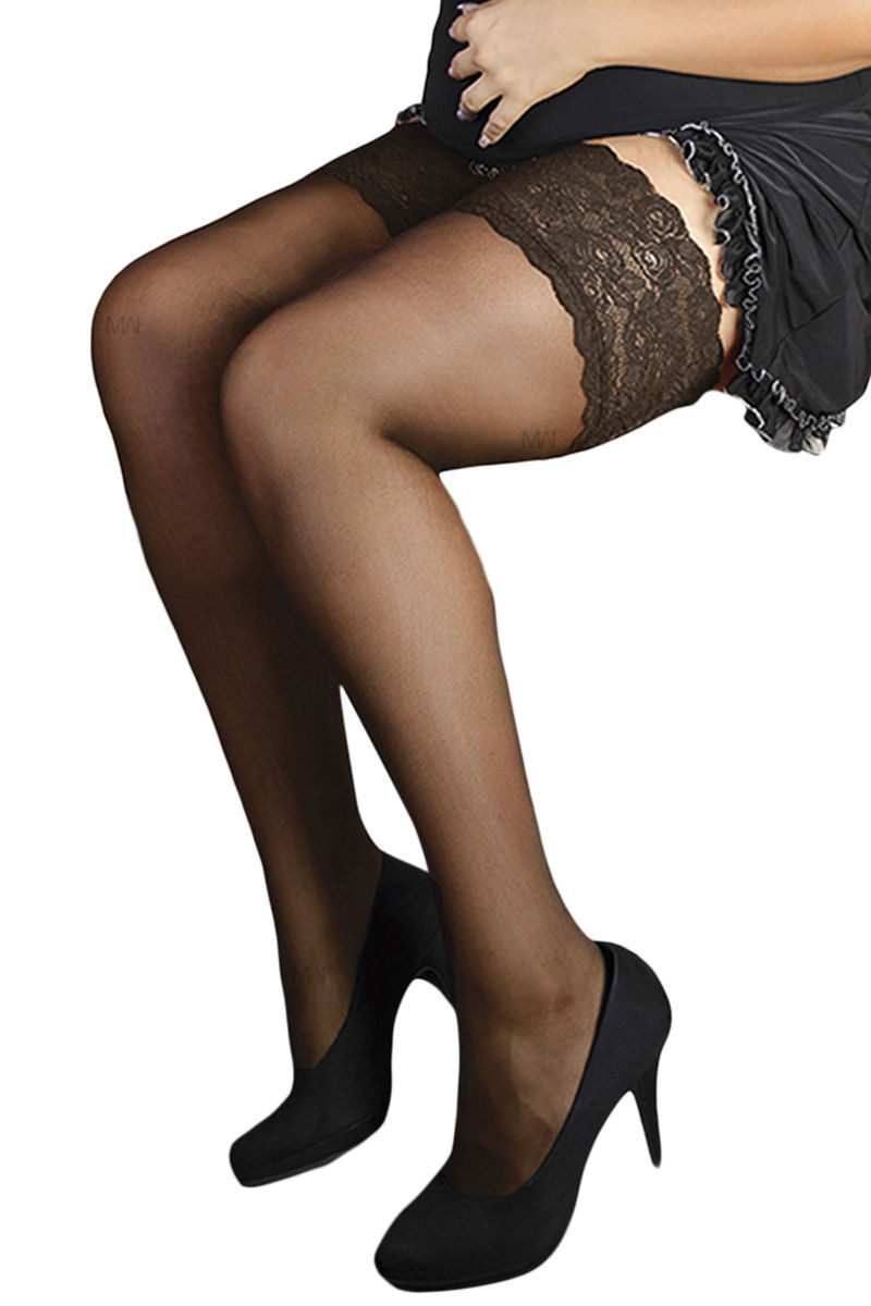 Halterlose Strümpfe ST/04/04 Damen Stockings Plus Size von Andalea Dessous