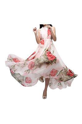 Dame Sommer Elegant Boho Lotusblatt Chiffon Kleid + weisser Blume Guertel GY
