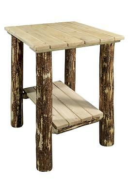 Log OUTDOOR End Table Amish Made Log Furniture Solid Wood Porch Stand Amish Made Outdoor Furniture
