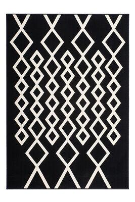 Flachflor Teppich Rauten Design Modern Teppiche Schwarz Elfenbein 80X150Cm - Schwarz Elfenbein Teppich
