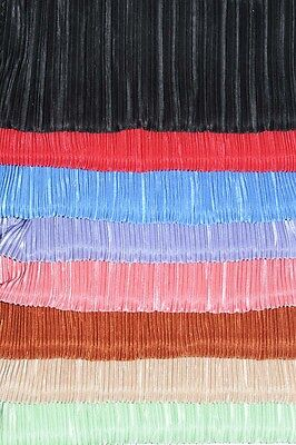 SATIN  PLEATED PLISSE FABRIC CHOICE OF COLOR 1 YARD STRETCH SKIRTS COSTUME