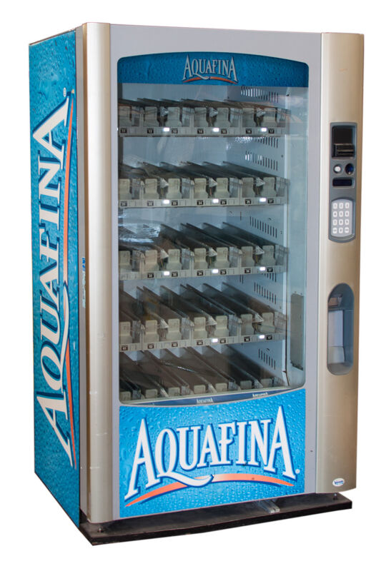 Vendo Vue 40 Glass Front Drink Vending Machine Aquafina Graphics FREE SHIPPING