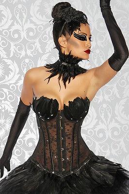 Black Swan White Swan Halloween-kostüme (Black Swan White Corsage Kostüm Fasching Halloween Karneval Korsage Gothic NEU)