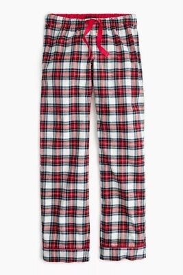 J.CREW Flannel pajama pant in festive plaid H2424 Petite Small PJ Bottom Red NEW
