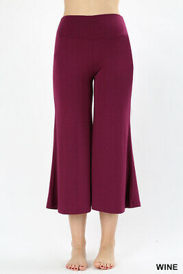 Women Knit Capri Culottes Gaucho Waistband Wide Leg Palazzo Pants