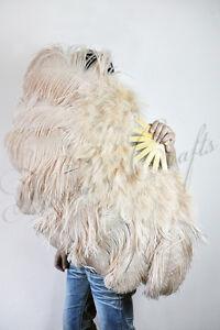 Light Camel Marabou & Ostrich Feather fan 24