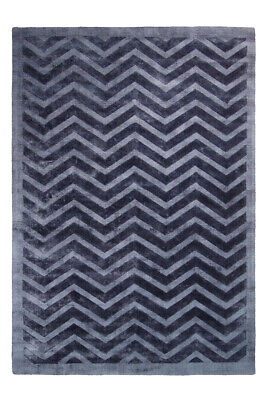 3D Teppich Modern Struktur Teppiche Zick Zack Azteken Muster Scandi Grau Blau