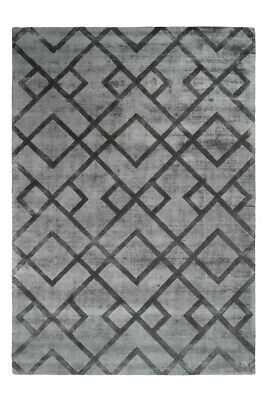 Zick Zack Carpet Viscose Hand Woven Kurzflorteppich Grey Anthracite 120x170cm
