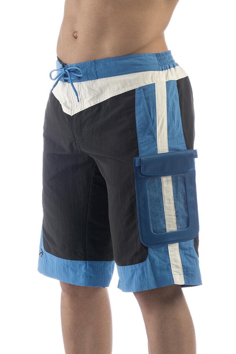 Badehose Herren / Junge Lang blau wasserdichte Tasche IPX8
