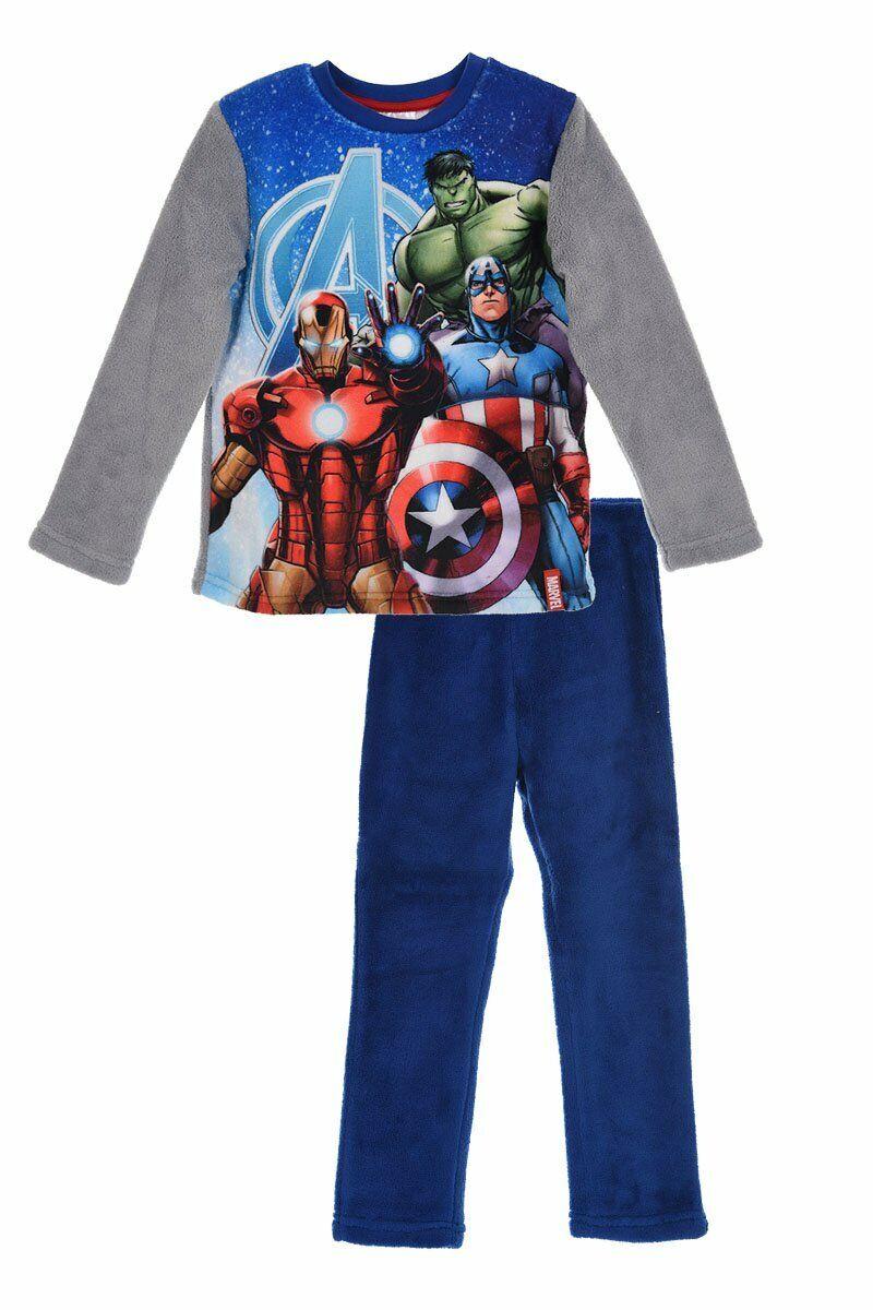 Marvel Avengers Ironman Hulk Captain America Fleece-Schlafanzug Pyjama Blau NEU