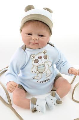 "18"" Handmade Lifelike Baby Doll Silicone Vinyl Reborn Baby Newborn Boy Baby on Rummage"
