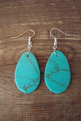 Navajo Indian Jewelry Turquoise Slab Earrings! Native American